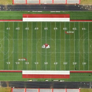 an aerial view of stadium turf before being recycled.
