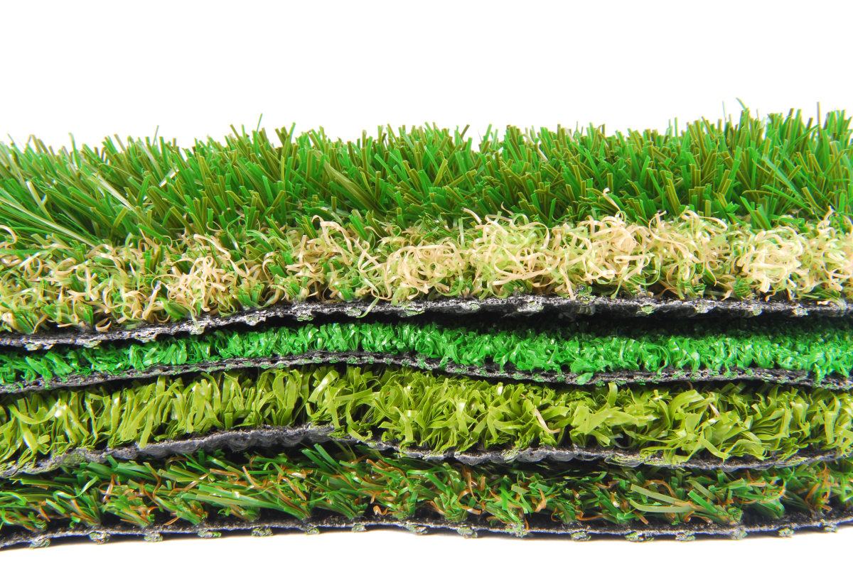 a picture of various types of artificial grass used to save water in lawns.